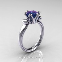 Modern Antique 14K White Gold 1.25 Carat Alexandrite Solitaire Engagement Ring AR127-14KWGAL