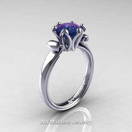 Antique-14K-White-Gold-1-0-Ct-Alexandrite-Engagement-Ring-AR127-14KWGAL-P2