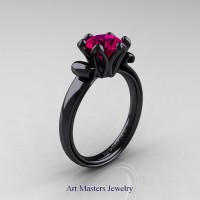 Modern Antique 14K Black Gold 1.5 Carat Rose Ruby Solitaire Engagement Ring AR127-14KBGRR
