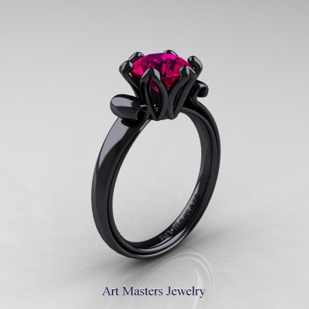 Art-Masters-14K-Black-Gold-1-5-Ct-Rose-Ruby-Solitaire-Engagement-Ring-AR127-14KBGRR-P