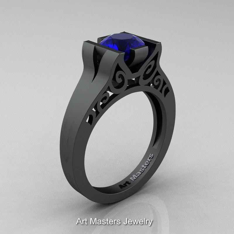 Modern Classic 14K Matte Black Gold 10 CT Blue Sapphire Engagement