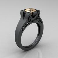 Modern 14K Matte Black Gold 1.0 CT Champagne Diamond Engagement Ring Wedding Ring R36N-14KMBGCHD