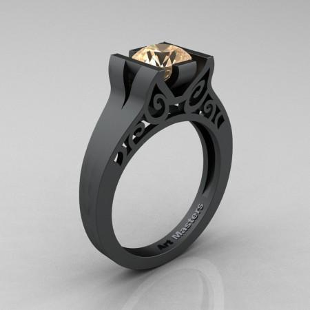 Art-Masters-14K-Matte-Black-Gold-1-Ct-Champagne-Diamond-Engagement-Ring-R36N-14KMBGCHD-P