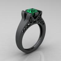 Modern Classic 14K Matte Black Gold 1.0 CT Emerald Engagement Ring Wedding Ring R36N-14KMBGEM