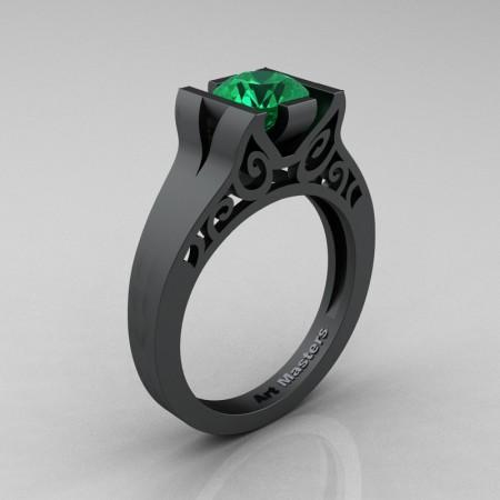 Art-Masters-14K-Matte-Black-Gold-1-Ct-Emerald-Engagement-Ring-R36N-14KMBGEM-P