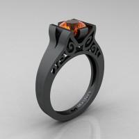 Modern Classic 14K Matte Black Gold 1.0 CT Orange Sapphire Engagement Ring Wedding Ring R36N-14KMBGOS