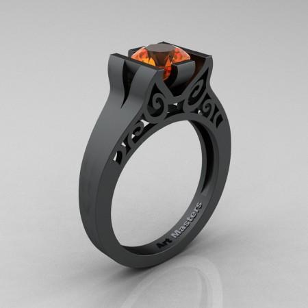 Art-Masters-14K-Matte-Black-Gold-1-Ct-Orange-Sapphire-Engagement-Ring-R36N-14KMBGOS-P