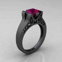 Modern Classic 14K Matte Black Gold 1.0 CT Rose Ruby Engagement Ring Wedding Ring R36N-14KMBGRR