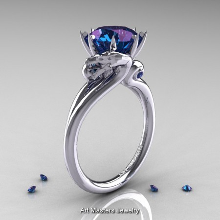 Art-Masters-14K-White-Gold-3-Carat-Alexandrite-Dragon-Engagement-Ring-R601-14KWGAL-P