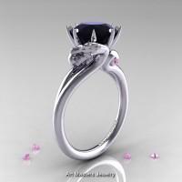 Art Masters Scandinavian 14K White Gold 3.0 Ct Black Diamond Light Pink Sapphire Dragon Engagement Ring R601-14KWGLPSBD