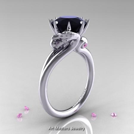 Art-Masters-14K-White-Gold-3-Carat-Black-Diamond-Light-Pink-Sapphire-Dragon-Engagement-Ring-R601-14KWGLPSBD-P