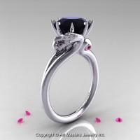 Art Masters Scandinavian 14K White Gold 3.0 Ct Black Diamond Pink Sapphire Dragon Engagement Ring R601-14KWGPSBD