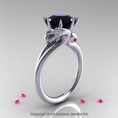 Art-Masters-14K-White-Gold-3-Carat-Black-Diamond-Pink-Sapphire-Dragon-Engagement-Ring-R601-14KWGPSBD-P