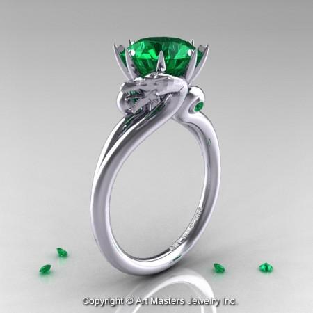 Art-Masters-14K-White-Gold-3-Carat-Emerald-Dragon-Engagement-Ring-R601-14KWGEM-P