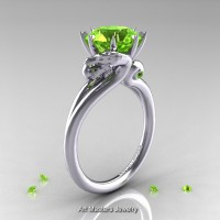 Art Masters Scandinavian 14K White Gold 3.0 Ct Peridot Dragon Engagement Ring R601-14KWGP