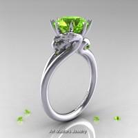 Art Masters Scandinavian 14K White Gold 3.0 Ct Peridot Dragon Engagement Ring R601-14KWGP