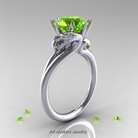 Art-Masters-14K-White-Gold-3-Carat-Peridot-Dragon-Engagement-Ring-R601-14KWGP-P