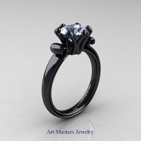 Art-Masters-Antique-14K-Black-Gold-1-5-Ct-Aquamarine-Solitaire-Engagement-Ring-AR127-14KBGAQ-P