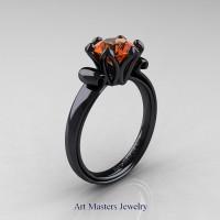 Modern Antique 14K Black Gold 1.5 Carat Orange Sapphire Solitaire Engagement Ring AR127-14KBGOS
