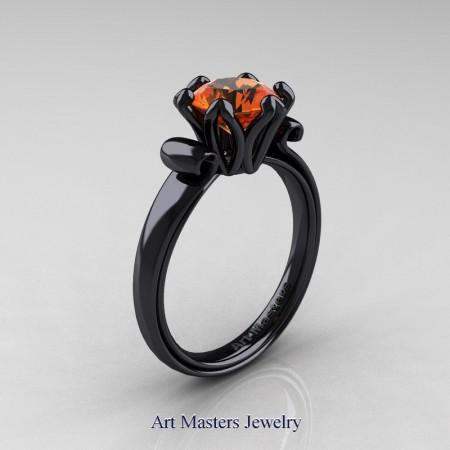 Art-Masters-Antique-14K-Black-Gold-1-5-Ct-Orange-Sapphire-Solitaire-Engagement-Ring-AR127-14KBGOS-P