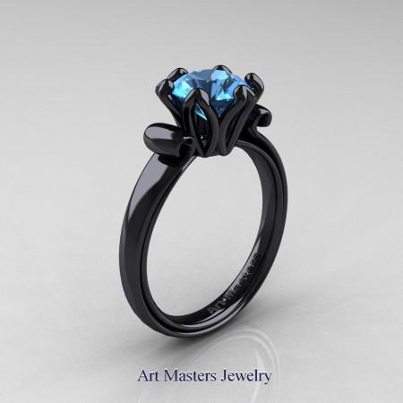 Art-Masters-Antique-14K-Black-Gold-1-5-Ct-Swiss-Blue-Topaz-Solitaire-Engagement-Ring-AR127-14KBGBT-P