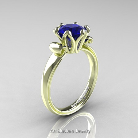 Art-Masters-Antique-14K-Green-Gold-1-5-Ct-Blue-Sapphire-Solitaire-Engagement-Ring-AR127-14KGGBS-P