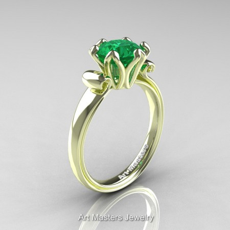 Art-Masters-Antique-14K-Green-Gold-1-5-Ct-Emerald-Solitaire-Engagement-Ring-AR127-14KGGEM-P