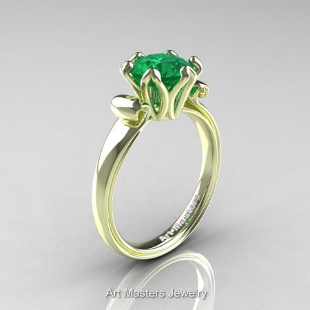 Art-Masters-Antique-14K-Green-Gold-1-5-Ct-Emerald-Solitaire-Engagement-Ring-AR127-14KGGEM-P