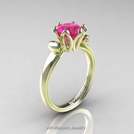 Art-Masters-Antique-14K-Green-Gold-1-5-Ct-Pink-Sapphire-Solitaire-Engagement-Ring-AR127-14KGGPS-P
