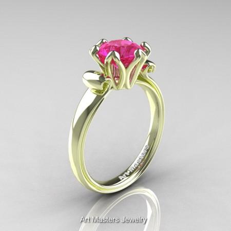 Art-Masters-Antique-14K-Green-Gold-1-5-Ct-Pink-Sapphire-Solitaire-Engagement-Ring-AR127-14KGGPS-P