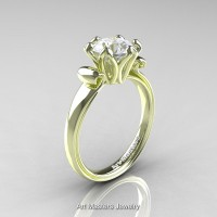 Modern Antique 14K Green Gold 1.5 Carat White Sapphire Solitaire Engagement Ring AR127-14KGRGWS