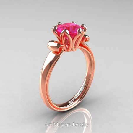 Art-Masters-Antique-14K-Rose-Gold-1-5-Ct-Pink-Sapphire-Solitaire-Engagement-Ring-AR127-14KRGPS-P