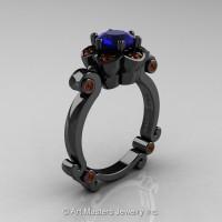 Art Masters Caravaggio 14K Black Gold 1.0 Ct Blue Sapphire Brown Diamond Engagement Ring R606-14KBGBRDBS