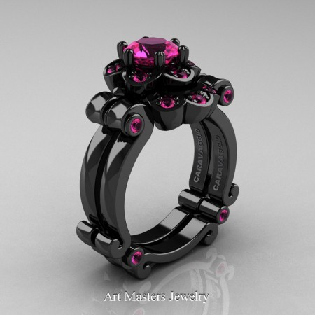 Art-Masters-Caravaggio-14K-Black-Gold-1-Ct-Pink-Sapphire-Engagement-Ring-Wedding-Band-Set-R606S-14KBGPS-P