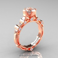 Art Masters Caravaggio 14K Rose Gold 1.0 Ct Morganite Diamond Solitaire Engagement Ring R625-14KRGDMO