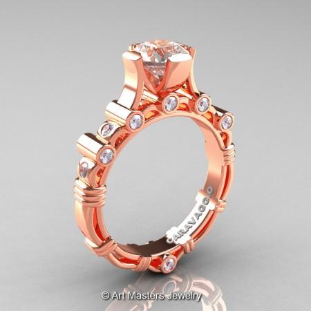 Art-Masters-Caravaggio-14K-Rose-Gold-1-Carat-Morganite-Diamond-Solitaire-Wedding-Ring-R625-14KRGDMO-P