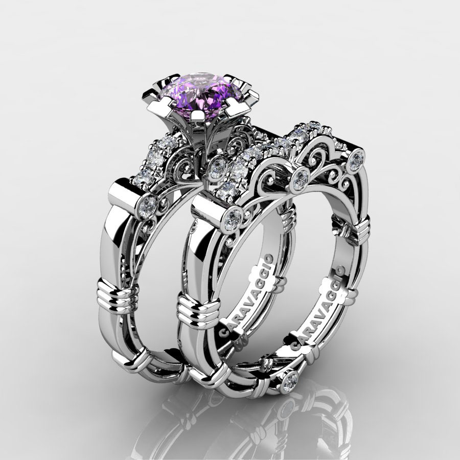 This is a photo of Art Masters Caravaggio 38K White Gold 38.38 Ct Amethyst Diamond Engagement Ring Wedding Band Set R38S-38KWGDAM