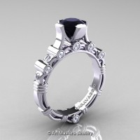 Art Masters Caravaggio 14K White Gold 1.0 Ct Black and White Diamond Solitaire Engagement Ring R625-14KWGDBD