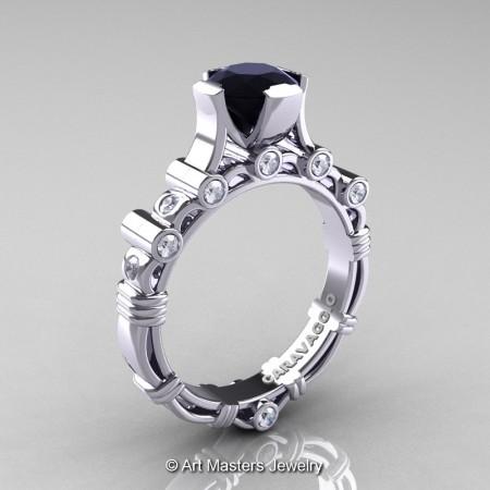 Art-Masters-Caravaggio-14K-White-Gold-1-Carat-Black-White-Diamond-Solitaire-Wedding-Ring-R625-14KWGDBD-P