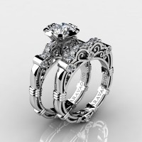 Art Masters Caravaggio 14K White Gold 1.0 Ct White Sapphire Diamond Engagement Ring Wedding Band Set R623S-14KWGDWS
