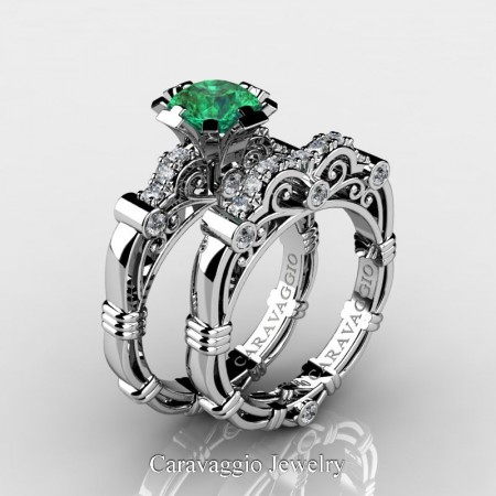 Art-Masters-Caravaggio-14K-White-Gold-1-Carat-Emerald-Diamond-Engagement-Ring-Wedding-Band-Set-R623S-14KWGDEM-P