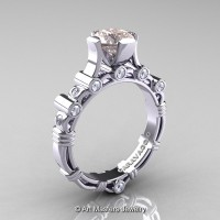 Art Masters Caravaggio 14K White Gold 1.0 Ct Morganite Diamond Solitaire Engagement Ring R625-14KWGDMO