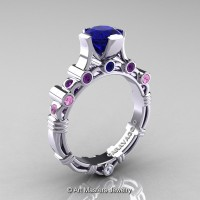 Art Masters Caravaggio 10K White Gold 1.0 Ct Sapphire Amethyst Bouquet Engagement Ring R625-10KWGAMWLPBS