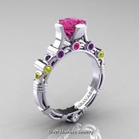 Art Masters Caravaggio 10K White Gold 1.0 Ct Sapphire Amethyst Bouquet Engagement Ring R625-10KWGAMWYPS