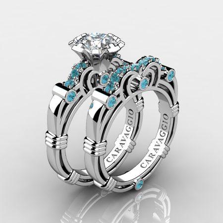 Art-Masters-Caravaggio-14K-White-Gold-1-Carat-White-Sapphire-Aquamarine-Engagement-Ring-Wedding-Band-Set-R623S-14KWGAQWS-P