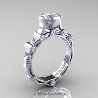 Art Masters Caravaggio 10K White Gold 1.0 Ct White Sapphire Solitaire Engagement Ring R625-10KWGWS