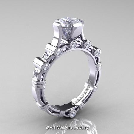 Art-Masters-Caravaggio-14K-White-Gold-1-Carat-White-Sapphire-Diamond-Solitaire-Wedding-Ring-R625-14KWGDWS-P
