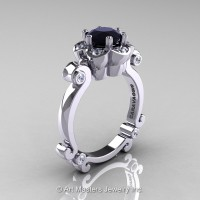 Art Masters Caravaggio 14K White Gold 1.0 Ct Black and White Diamond Engagement Ring R606-14KWGDBD