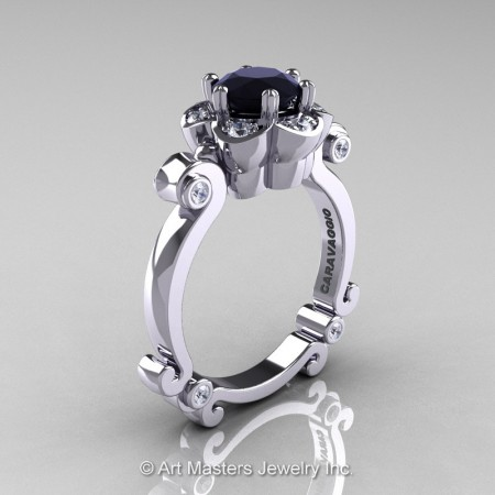 Art-Masters-Caravaggio-14K-White-Gold-1-Ct-Black-and-White-Diamond-Engagement-Ring-R606-14KWGDBD-P