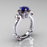 Art Masters Caravaggio 10K White Gold 1.0 Ct Blue Sapphire Brown Diamond Engagement Ring R606-10KWGBRDBS